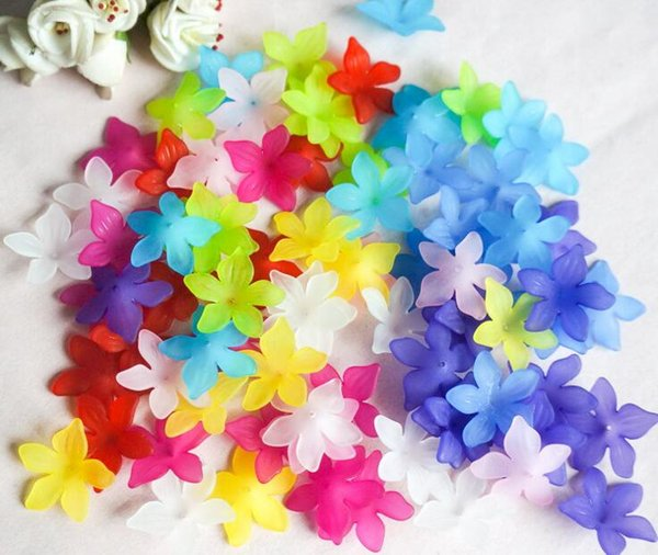 650pcs 29mm Beautiful Transparent Acrylic Flower Beads With Hole For Hair Peice Tiaras Jewelry Scrapbooking Craft DIY
