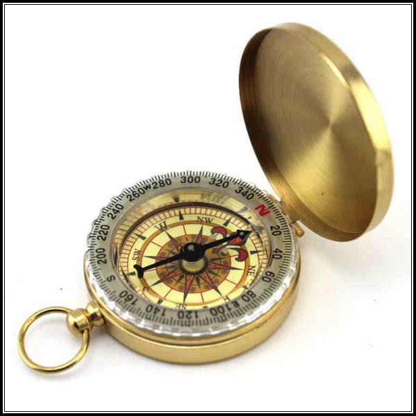 Lowest Price 100pcs Outdoor Gadgets Delicate Brass Pocket Watch Style Outdoor Camping Compass wholesale Golden Classic Antique Free Shipping