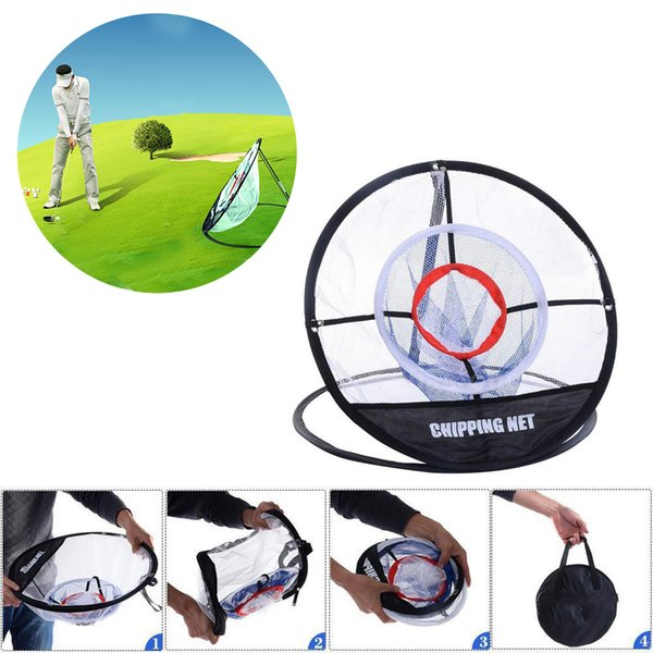 """best selling New Portable 20"""" Golf Training Chipping Net Hitting Aid Practice Golf Chipping Pitching Practice Net Training Aid Tool with 2 Stakes"""
