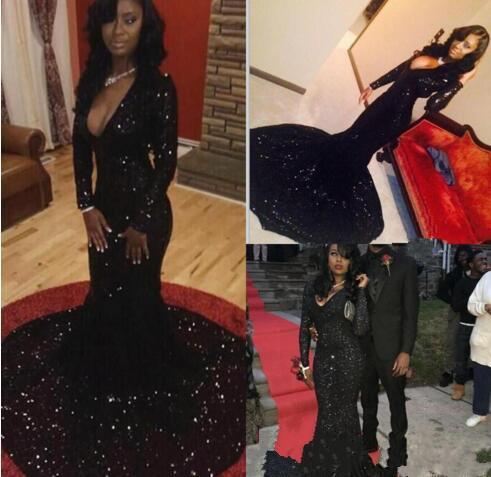 Sexy Long Sleeve Plunging V Neck Evening Dresses 2K15 Black Girl Couples Fashion Prom Dresses Gorgeous Red Carpet Gowns High End Custom PD83