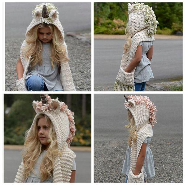 kids Unicorn scarf cap 2 in 1 Kids Infant Warm Knitted Hats warmer Winter Beanie Hat Tassels cap LJJK783