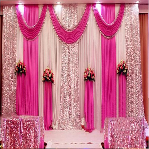 A set 3x6m Luxury Wedding Background Gauze Curtain backdrop with multiple drape Wedding party decoration background layout Curtain