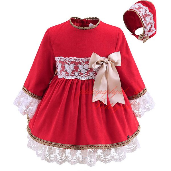 Pettigirl Red Boutique Infant Girl Autumn Dress With Headwear Bow Decoration Lace Long-Sleeved Clothing Baby Knee-Lenhht Wear G-DMGD908-889