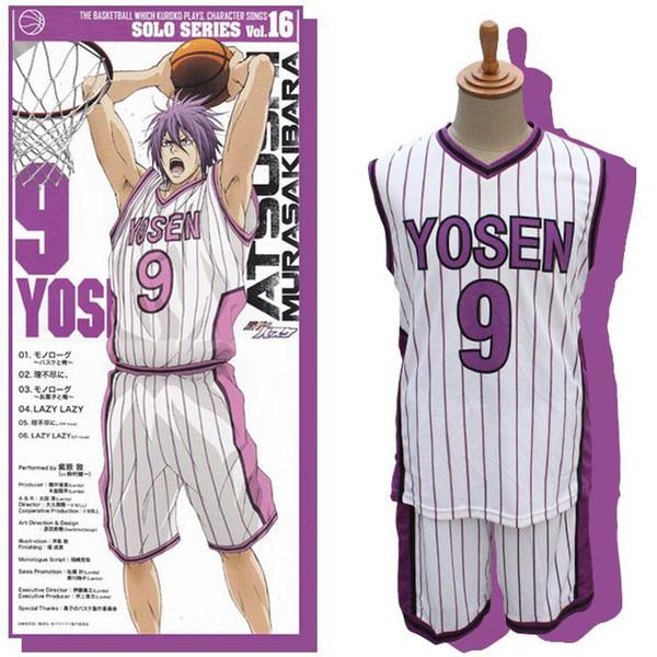2015 Anime Kuroko no Basket Basketball White YOSEN Uniform Murasakibara Atsushi Cosplay Basketball Shirt No.9