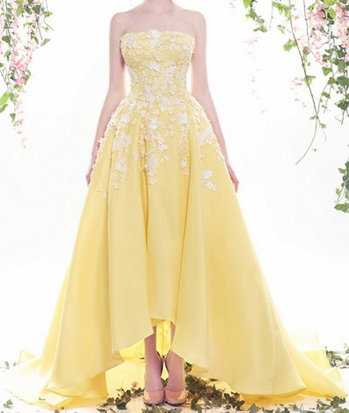 Yellow Wedding Dress White Lace 2016 Colored Bridal Design Strapless Neckline Zipper Backless High Low Bride