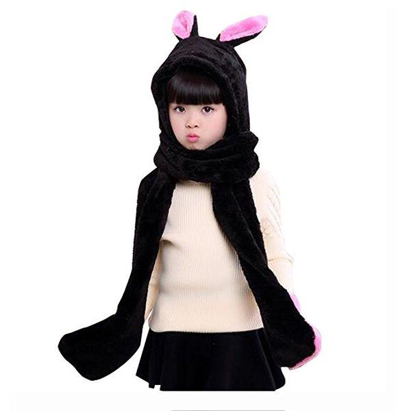 Kids Winter Warm Fleece Rabbit Hood Scarf 3 in 1 Gloves Earflap Hat Animal Long Scarf for Children 5pcs/lot