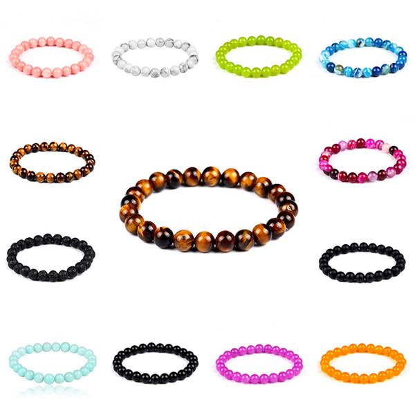 Tibetische multi Farbe natürliche Lava Stein Buddha Perlen Armband unisex spacer handgemachte Perlen Stränge flexible Armband versandkostenfrei