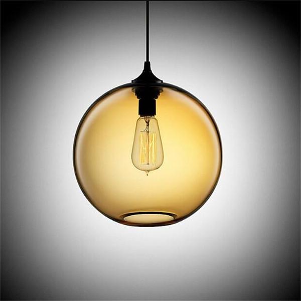 Modern Art Deco Hängende bunte Glaskugel e27 Pendelleuchte mit LED-Lichterkabel für Restaurant Ess- / Wohnzimmer Küchenbar