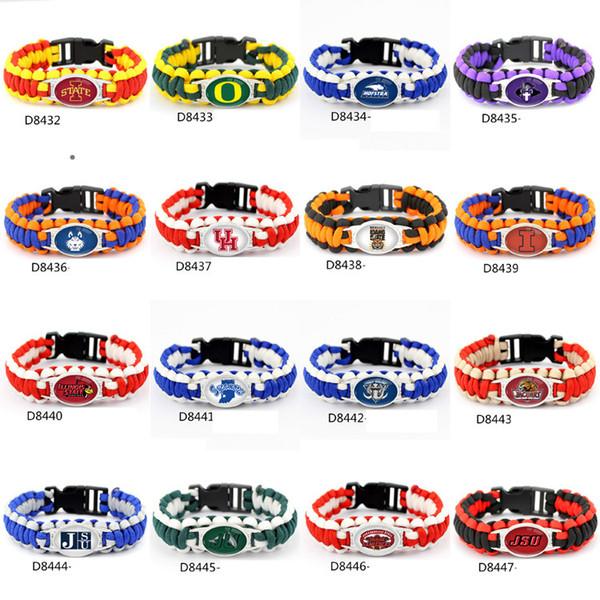 Fashion Footbal Team Charme Paracord Survival Bracelet Sport Collaboration NCAA En Plein Air Camping Bracelets Mix couleur 50 pcs DHL