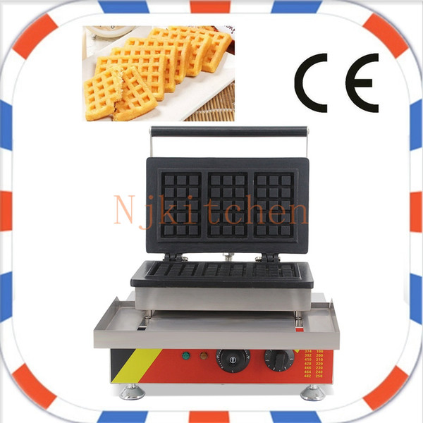 Commercial Use Non-stick 110v 220v Electric 3pcs Rectangle American Waffle Maker Machine Iron Baker Mold Plate Making Pan