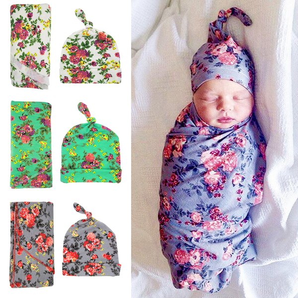 best selling Newborn Swaddle Blanket Knot Caps Set 2016 Baby Floral Pattern waddle set with cap Cotton gray green white robes
