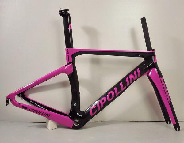 2018 black pink color Cipollini NK1K T1000 3K racing full carbon fiber road frame bicycle complete bike frameset RB1000 sell