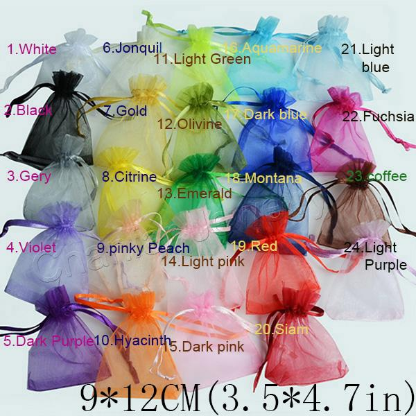 top popular Wholesale 24 colors Selection Jewelry packaging bags Drawable Organza Bags 9x12cm for wedding Gift Bags & Pouches 2020