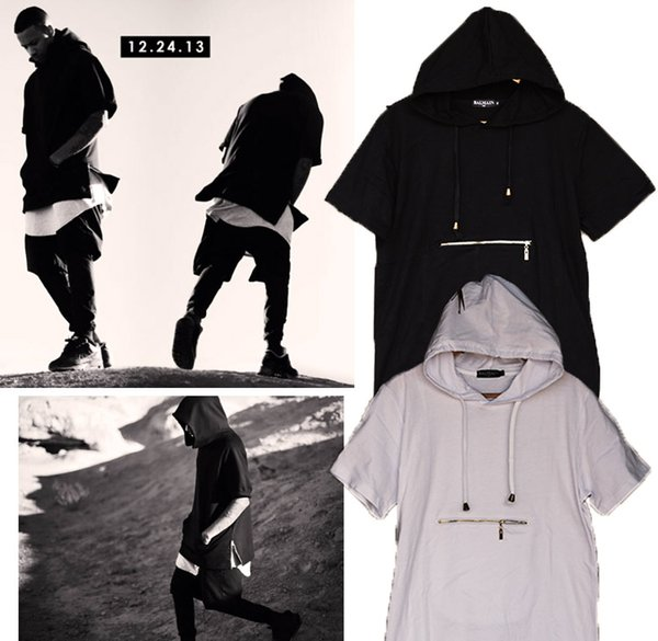 Men t shirt tyga cool oversized Gold side zipper hip hop extended hood t-shirt tee top hba jay-z casual lengthen tee shirt free shippping