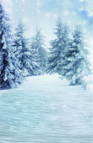 Fondali di neve Bokeh fiocchi di neve Vinile inverno neve Pini pavimento congelato Outdoor Scenic Forest Studio Photo Shoot sfondo