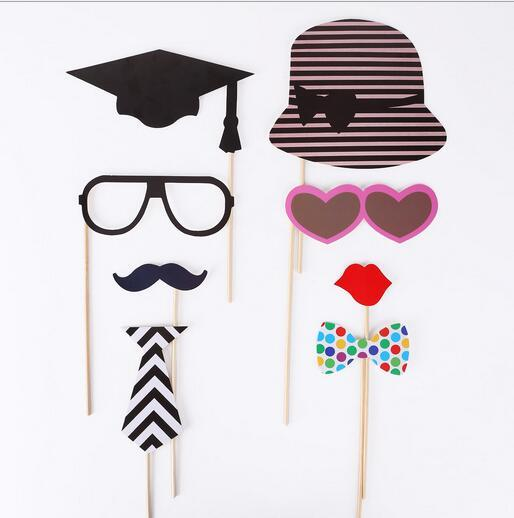 Hot Photo Props 76 Pcs/Set DIY Photo Booth Props Wedding Cute Bamboo Stick Mustache Lips Decor Party Supplies