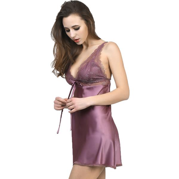 87812cd6485 Wholesale-ladies sexy silk satin nightgown sleeveless nightdress plus size  sleepwear lace nighties V-neck sleepwear nightwear for women