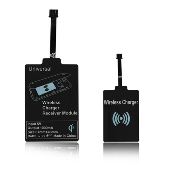 Prático Universal Preto Qi Adaptador Receptor de Carregamento Sem Fio Receptor Receptor Pad Coil Receiver Para THL OnePlus Honor Micro USB móvel