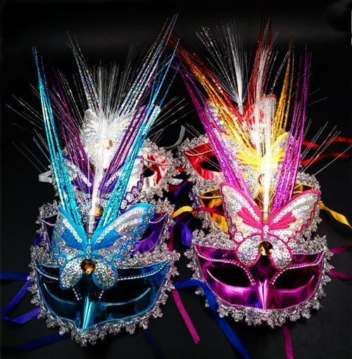 Colorful LED Peacock Spring rain mask masquerade party masks wholesale adult performer female princess