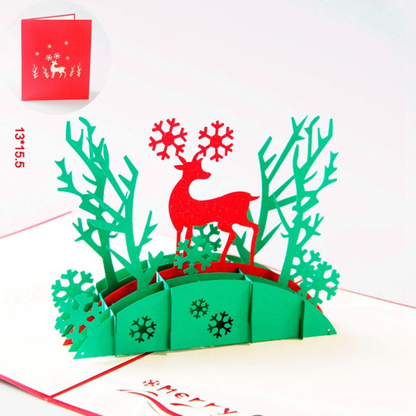 10pcs/lot Christmas Greeting Gift Cards 3D Pop Up Card Laser Cut Party Invitation Card with Envelope
