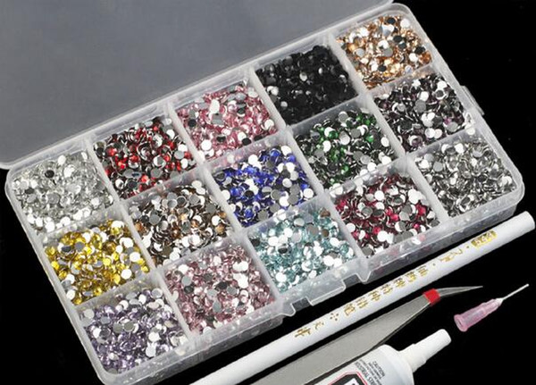 best selling Free shipping crystal size 2mm-5mm 3000pcs Flat Back Mixed 15 Colors Acrylic Mobile Phone Back Cover wholesale Rhinestone