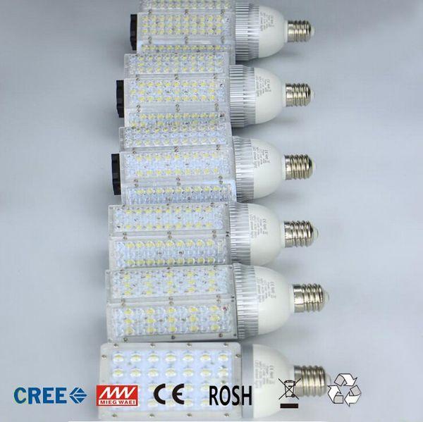 30W 40W 60W 80W 100W E40 E27 Luz de calle LED del bulbo del maíz CA 85-265V 12V / 24V Lámpara de calle llevada al aire libre impermeable Vertical Luz de camino del jardín