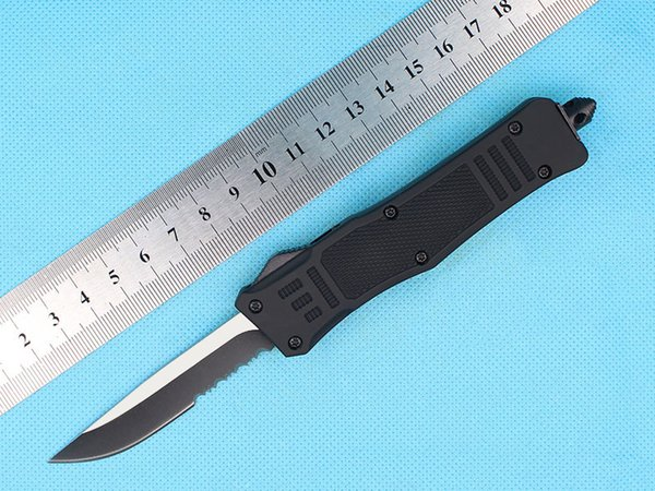 Custom Knives - 7 Inch Small 616 Auto Tactical Knife 440C Single Edge Drop Point Half Serration Blade With Nylon Bag