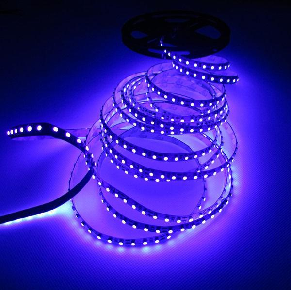 5M 3528 UV Carte de circuit imprimé UV blanche non résistante aux intempéries 120pcs / m, 395nm 3528 SMD Violet 600 LED Flex Strip Light, DC12V