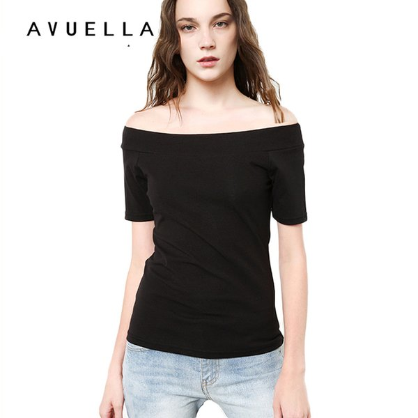 AVUELLA 2017 Womens Clothing Summer Women T Shirt Short Sleeve Slash Neck Cotton Solid Color Tops Tees Female Ladies T-Shirt for women