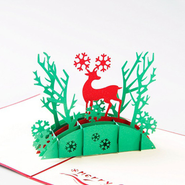 new Handmade Christmas Cards Creative Kirigami & Origami 3D Pop UP Greeting Card with Santa Ride free shipping