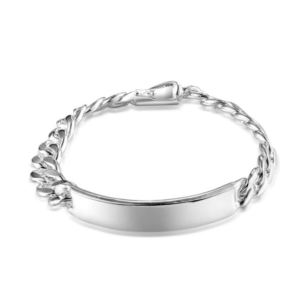 2Pcs 925 Sterling Silver ID Bracelet with Buckle Closure Curb Chain 10mm 8 inches Link chain