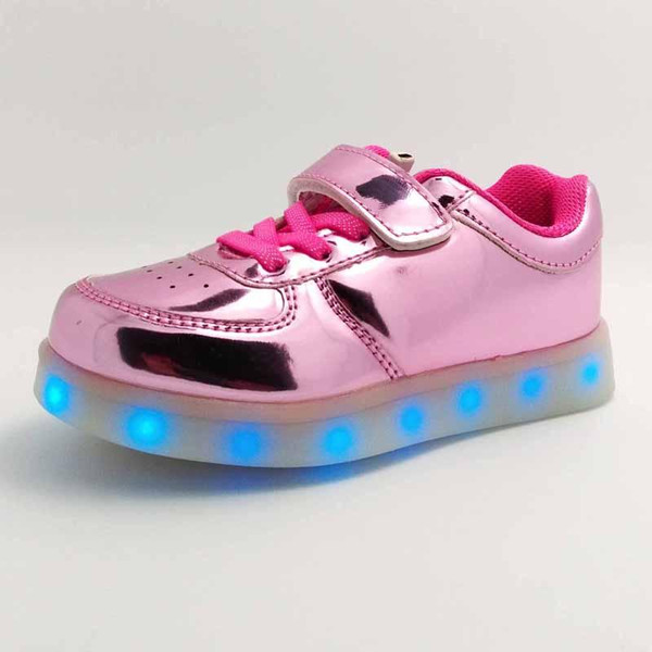 Girls LED Light Sneakers Sports Shoes 11 Different Flash Lights USB Recharge Metal PU Leather Hook&loop Straps Band Flat Sole Anti-slip