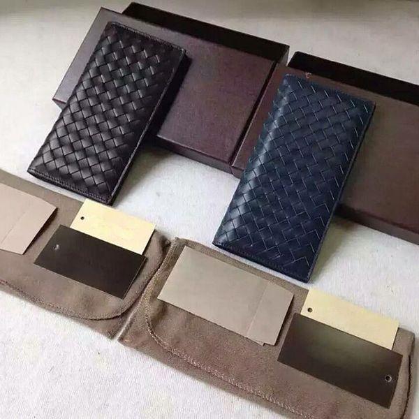 2016 New Genuine Leather Knitting Long wallets famous brand Men's Bi-Fold Clutch Suit Wallet Fashion men wallet Credit Card Holder Purses