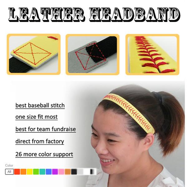 wholesale new design 26 colors SOFTBALL SEAMSTITCH HEADBAND Stretch Sports Softball LEATHER Stretch Elastic Sport headband cegate free DHL