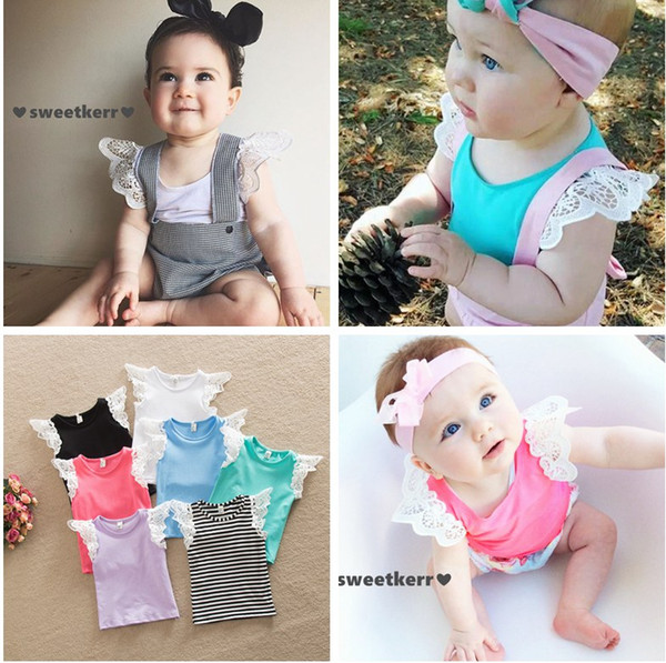 top popular New childrens clothing girls lace T-shirt Puff Sleeves Shalter top vest Free Singlet Fashion Hollow Shoulder strap vest Sleeveless Melee 2021