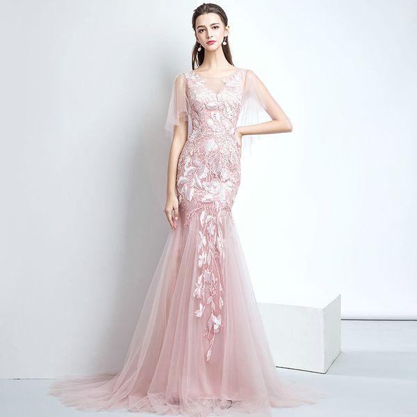 Evening Dress Sweet Pink Sheer Scoop Neck Poet Short Sleeves Lace Up ...