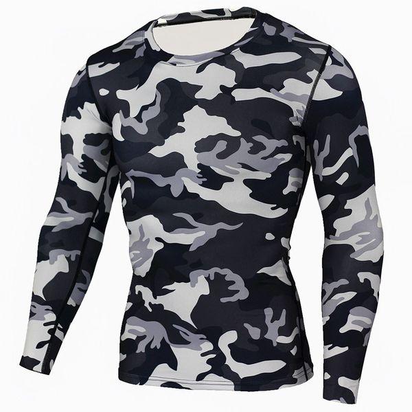 Rayo Mens Compression Base Layer levantamiento de pesas Fitness apretado MMA Crossfit Tops Rashguard camiseta camuflaje mangas largas