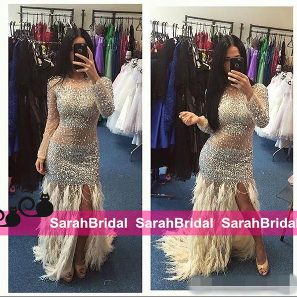 2k16 Sparkly Prom Dresses com luxo Bling cristais grânulos e penas de avestruz Sereia saia para Hot Girls Moda Venda ver através de vestidos
