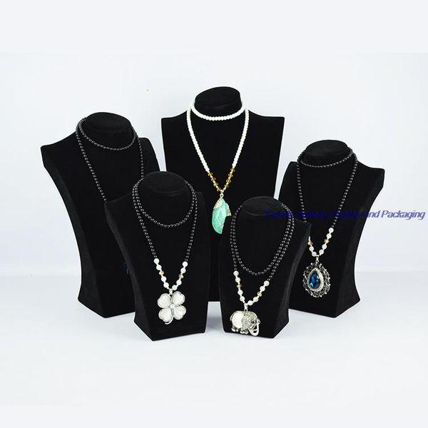 Spedizione gratuita Black Velvet Presentoir Collier Braccialetto gioielli Stand Collana Holder Mannequin Hanger per Cabinet Showcase 34CM altezza