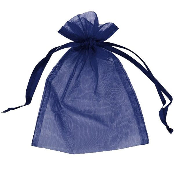 100 Pcs Navy Blue Organza Drawstring Pouches Candy Jewelry Party Wedding Favor Gift Bags Pouch Bags 7 x 9 Cm /2.8 x 3.6 Inches DIY Gift