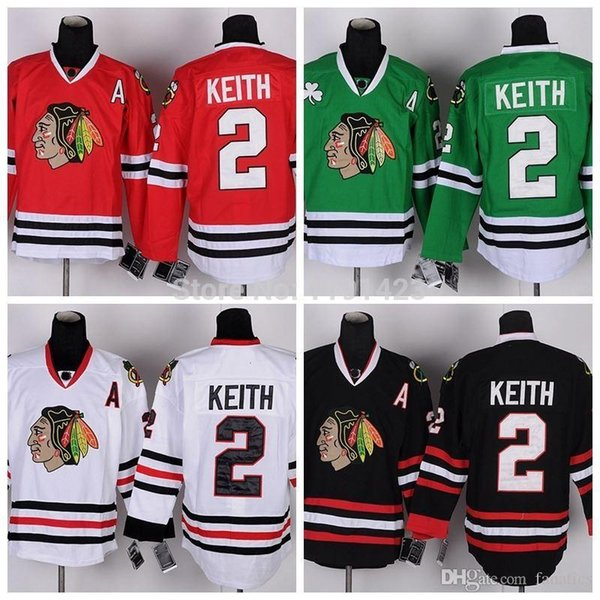 Cheap Chicago Blackhawks Hockey Jerseys #2 Duncan Keith Jersey Home Red Road White Third Black Green Stitched Jerseys A Patch