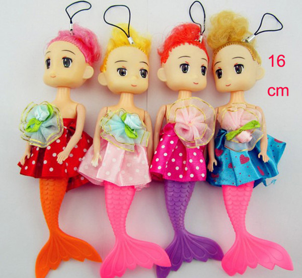 top popular 2017 Fashion mermaid dolls with Imperial crown girls stuffed shining living mermaid doll hang decoractions for children 16CM 2020