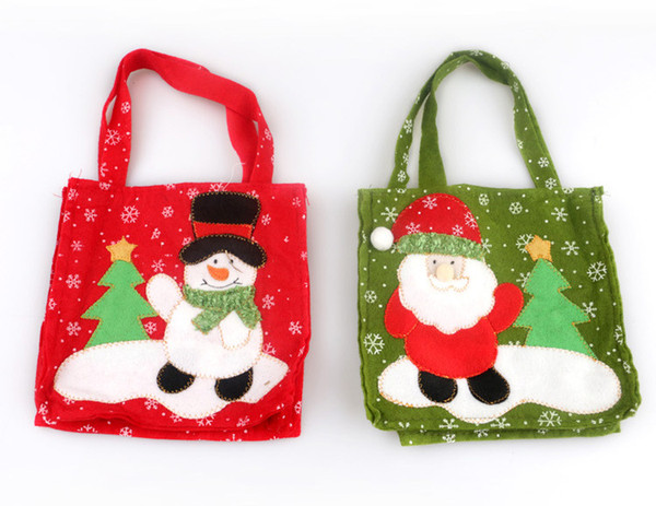 DHL Free Shipping Christmas Decorations for home Christmas candy gift bags new style Snowman Santa Claus candy bags handbags