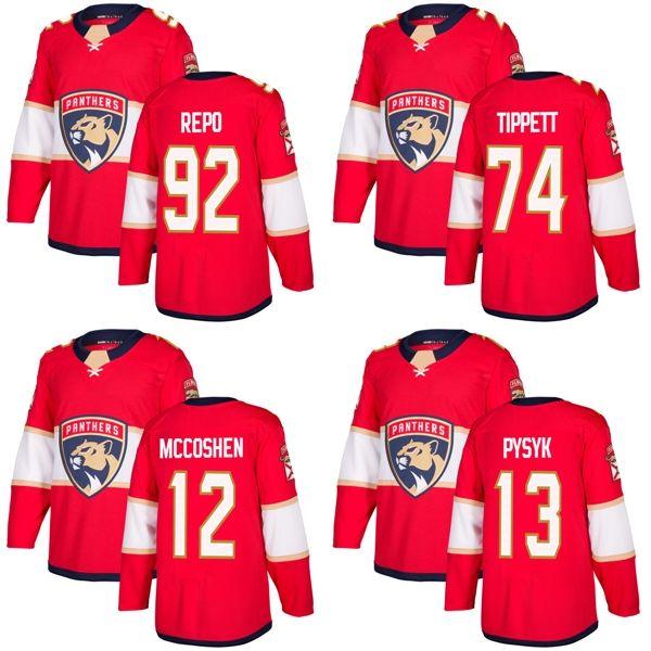 2017 neue Marke Mens Florida Panthers 12 Ian McCoshen 13 Mark Pysyk 74 Owen Tippett 92 Sebastian Repo Red Eishockey Trikots Akzeptieren Benutzerdefinierte