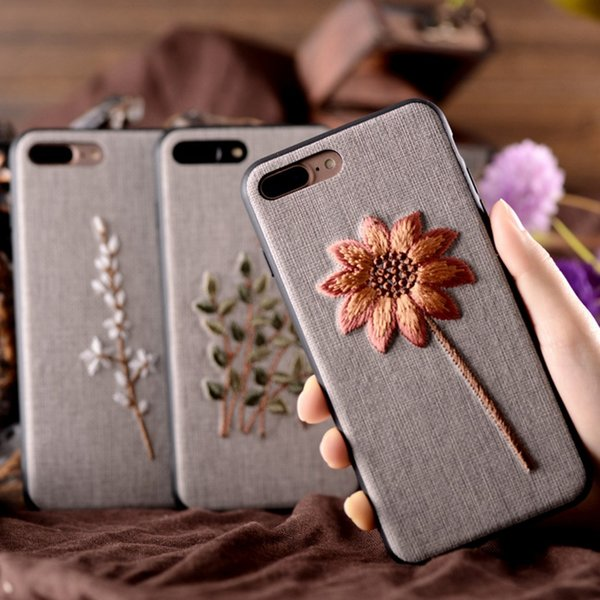 For iPhone 8 iPhone 6 6S plus Case Art Handmade Embroidery 3D Flower Phone Cases For iphone 7 plus 6s 6 plus Cover