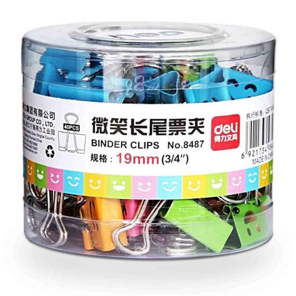 top popular Cute Smile Metal Binder Clips Sweet Expression Food Bag Clips Note Clips Student Stationery 40PCs lot Random Mixed 2021