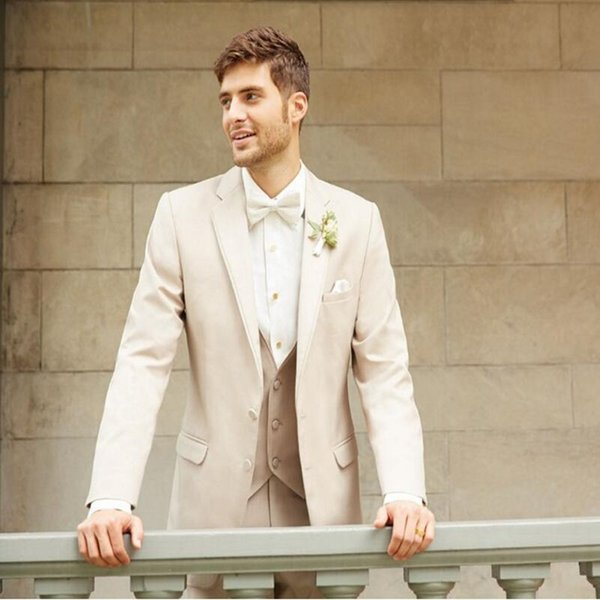 Beige men suits Fashion Men wedding Suits Tailor Made High Quality groom tuxedos Party Prom suits tuxedos(jacket+pants+vest)