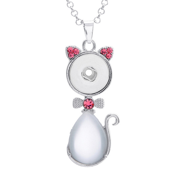 NOOSA Cute Cat Snap Button Pendant Crystal Charms Necklace 18mm Interchangeable Ginger Snap Jewelry A1087