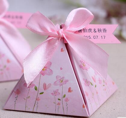 100 Pcs European style pink Pearl paper triangle pyramid Wedding boxs Candy Box gift boxs wedding baby birthday favour boxes THZ185