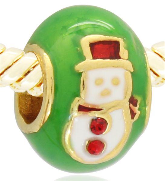 5pcs per lot hand color enamel gold plating Merry Christmas Snowman charm bead Faberge egg Fits Pandora European Bracelet